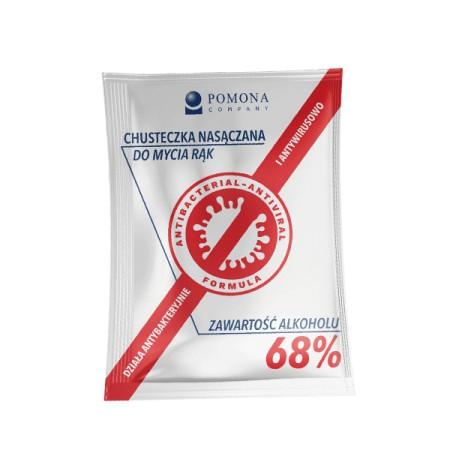 Chusteczki dezynfekujące w saszetkach 68% alk.